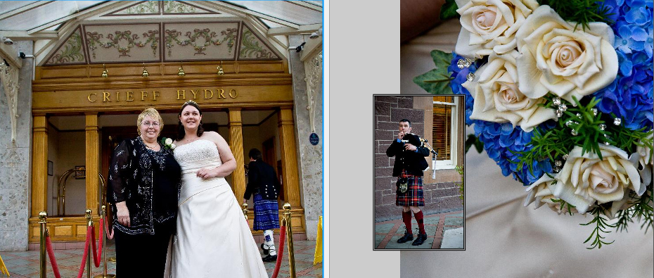bride with Mum outside Crieff Hydro Hotel near Perth - storybook wedding album pages 12-13