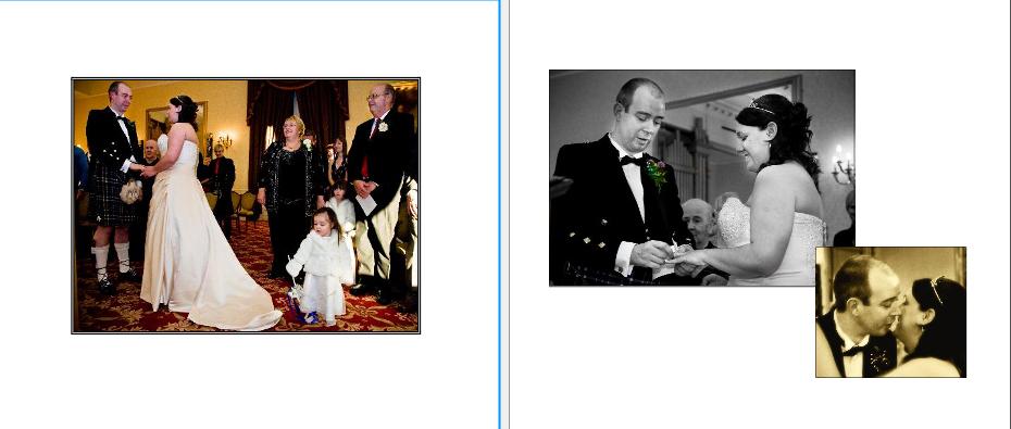 wedding ceremony at Crieff Hydro hotel near Perth storybook wedding album pages 14-15