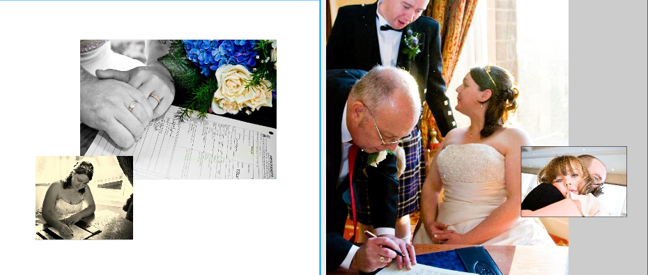 signing the register at Crieff Hydro hotel near Perth storybook wedding album pages 16-17