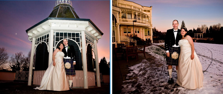 winter wedding picture of bride and groom in the snow at sunset outside Crieff Hydro Hotel in Perth