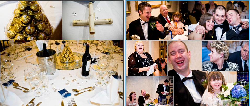 pages 24&25 of storybook album wedding reception speeches at Crieff Hydro Hotel in Scotland