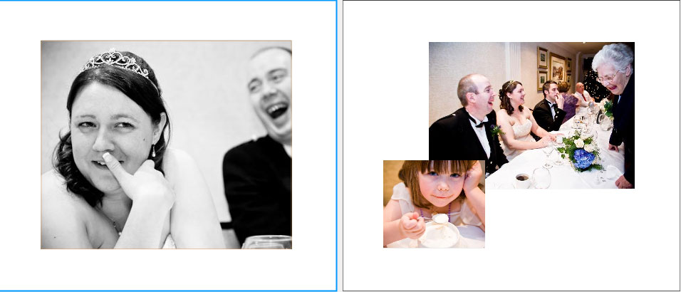 laughter at wedding speeches pages 26&27 of storybook album wedding reception at Crieff Hydro Hotel