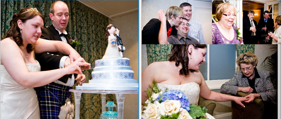 Scottish bride and groom cuttisng the cake picture in storybook wedding album