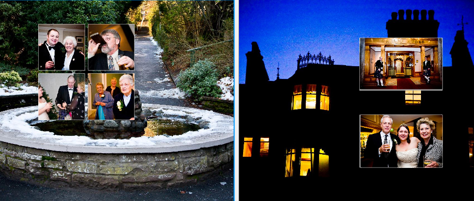 Crieff Hydro Hotel in the snow at night wedding storybook album pages 30-31