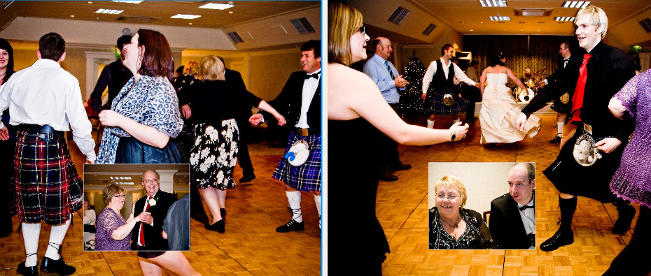 evening wedding reception with Scottish dancing , Storybook pages 37