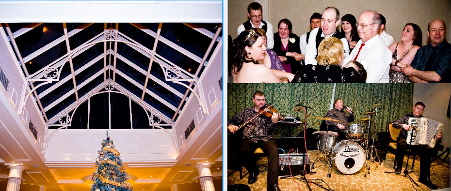 Ceilidh band plays Auld Lang Syne at Crieff Hydro Hotel in Scotland, storybook pages 38 and 39