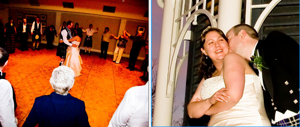 the tender kiss and first dance at Crieff Hydro Hotel in Scotland-storybook wedding album pages 38 and 39