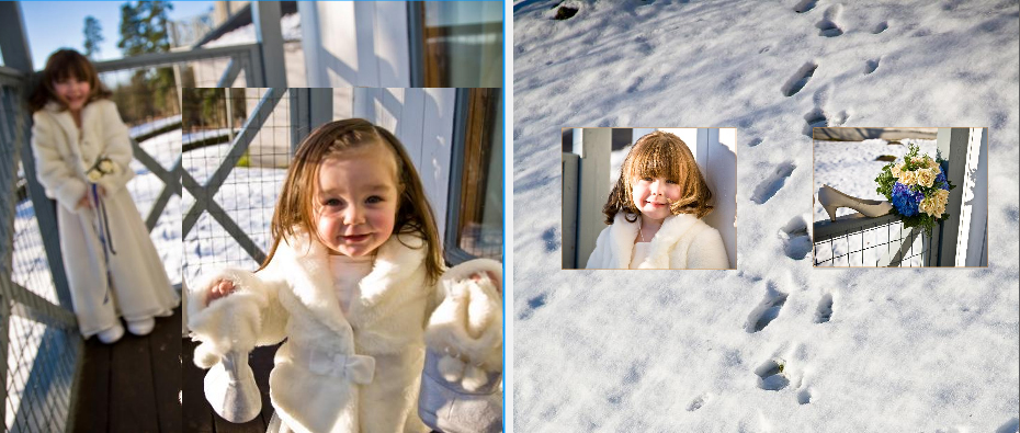 little bridesmaids in the snow ready for their Mum's wedding at Crieff Hydro Hotel near Perth