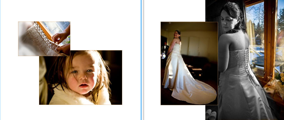 pages 8&9 of storybook album as bride gets ready for her winter wedding in Scotland