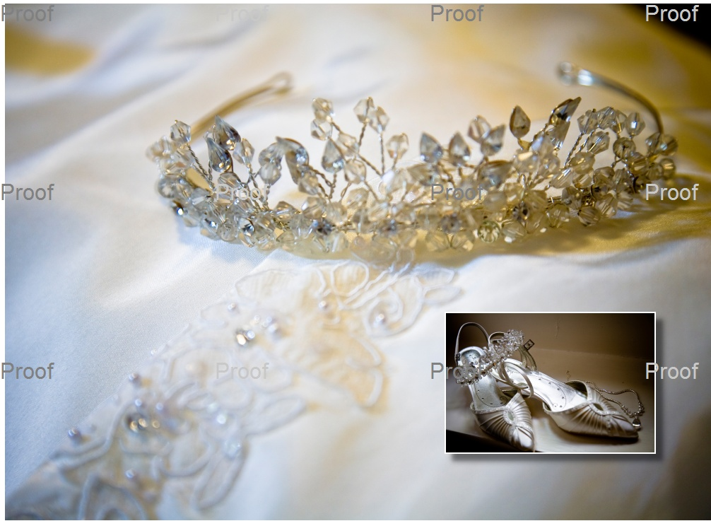 Storybook album page one: wedding tiara on wedding dress at Waterton park Hotel near Wakefield