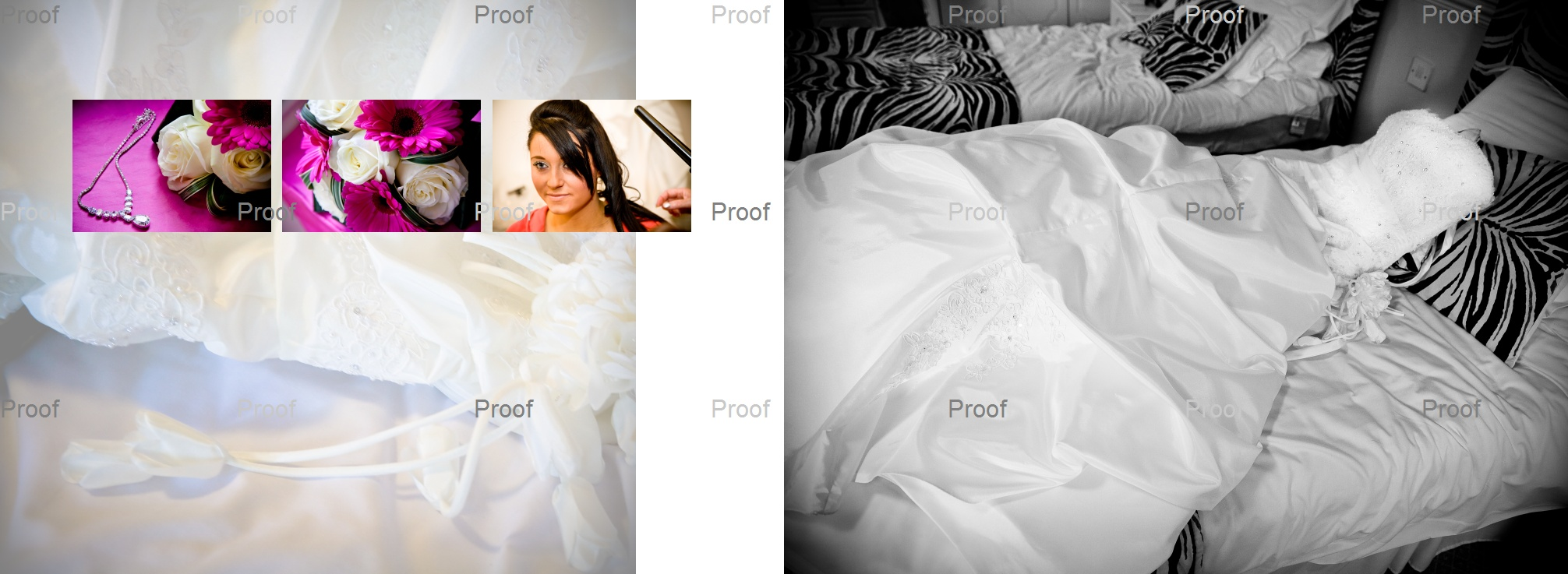 pages 2-3 of wedding storybook album with wedding dress on the bed