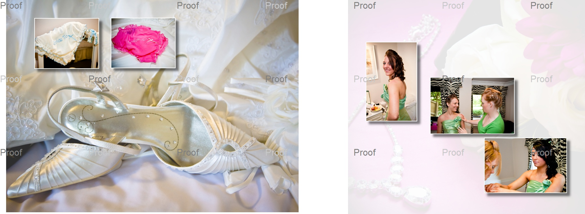 pages 4-5 of wedding storybook album with bridesmaids getting ready