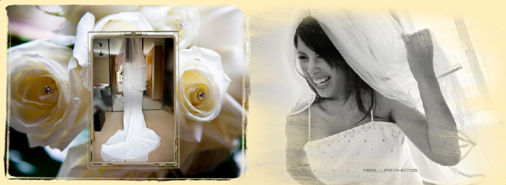 Sascha looking every bit the bride to be - gorgeous - on  pages 8-9 Graphistudio wedding storybook by Reel Life Photos