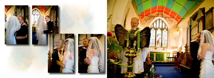 wedding ceremony inside St Mary's church in Hook near Goole in storybook layout for Italian wedding album