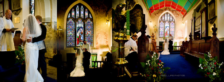 Sascha & James during their wedding ceremony in St Marys church, pages 24-25 Graphistudio wedding storybook by Reel Life Photos