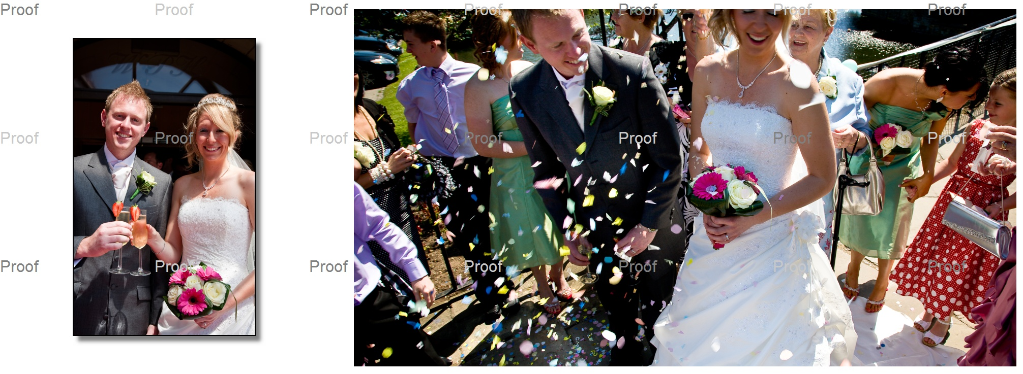 picture in storybook album of champagne and confetti at Waterton Park Hotel wedding