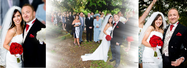 confetti outside St Mary's church in Hook,  pages 24-25 Graphistudio wedding storybook by Reel Life Photos