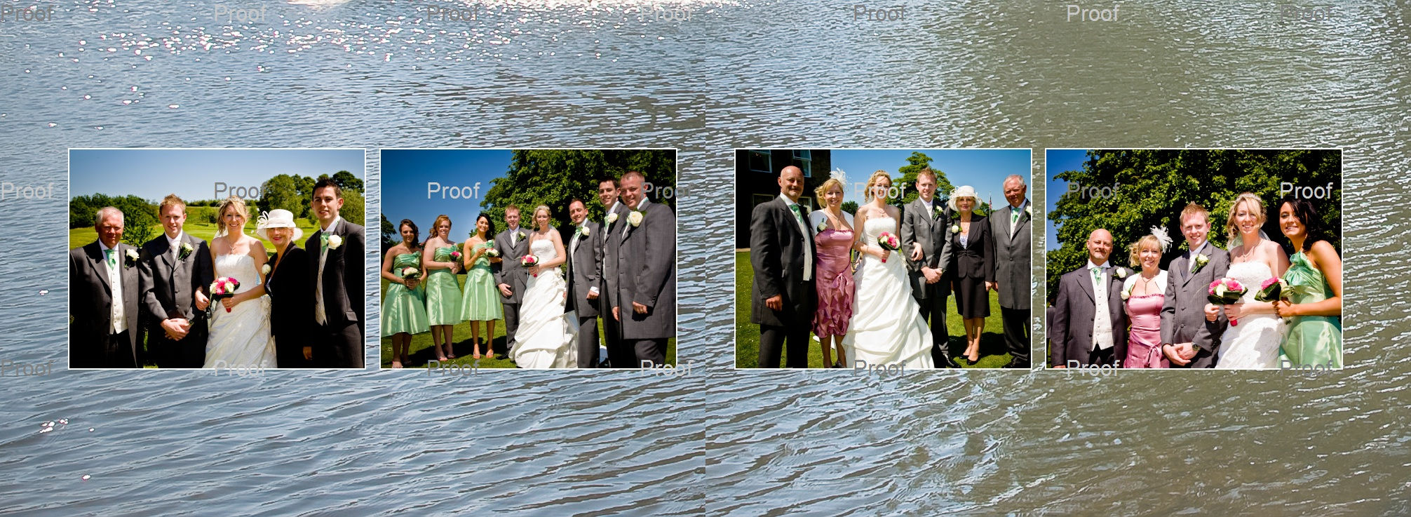 posed family wedding photos against backdrop of the lake surrounding the island at Waterton Park Hotel