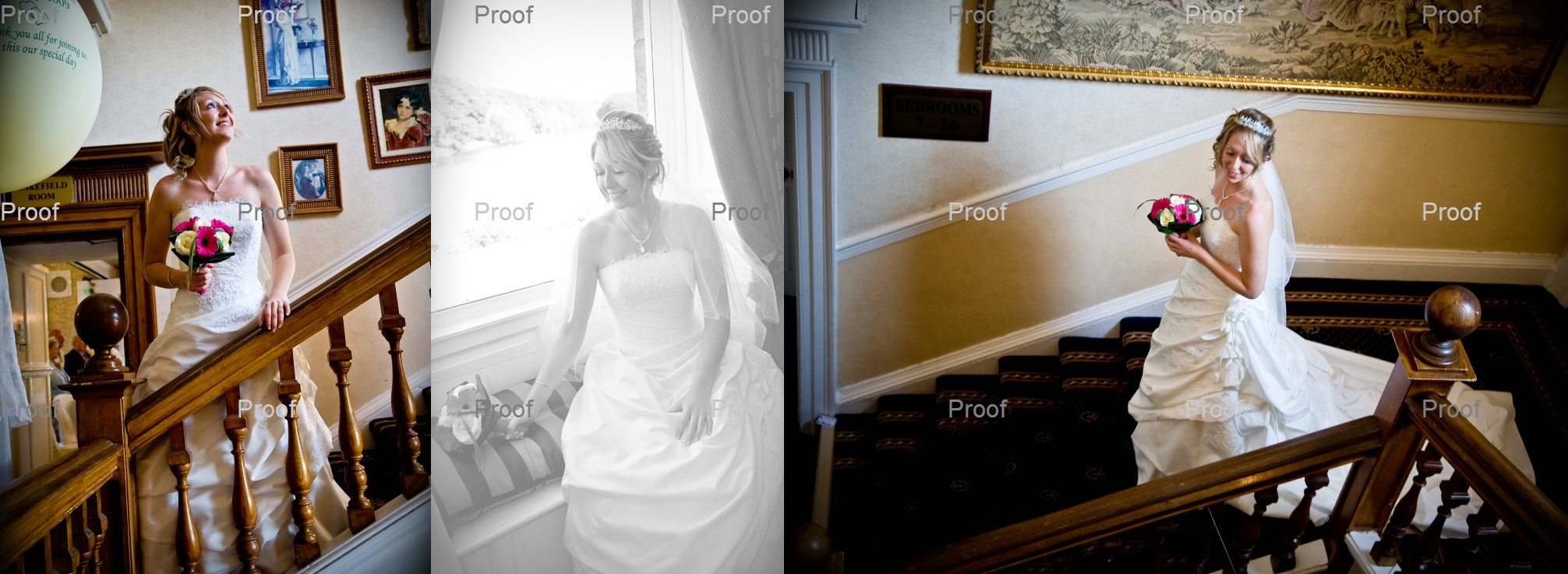 bridal wedding portraits on the stairs at Waterton Park Hotel
