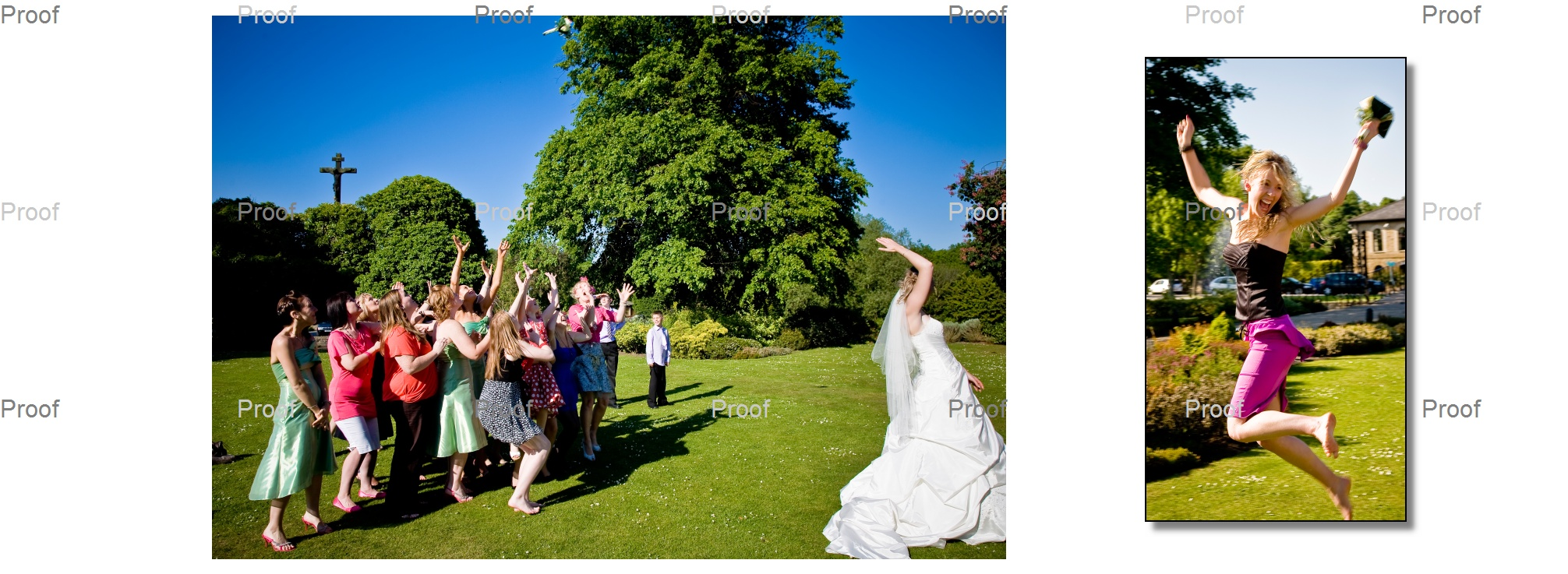 bride throwing the bouquet and ecstatic guest catching it