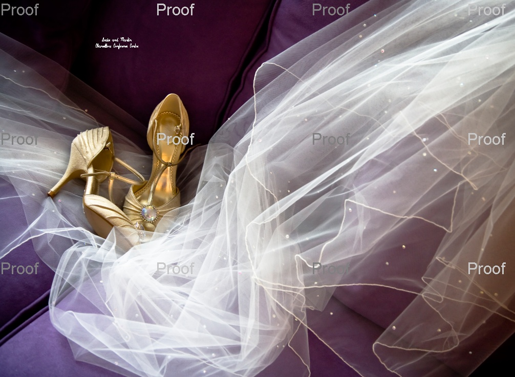 page 1 of wedding storybook album - shimmering veil with wedding shoes by natural window light