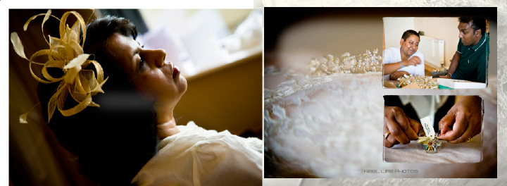 wedding preparations in hotel pages 2-3 of Graphistudio Italian wedding book