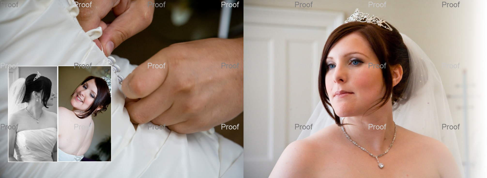 pages 6-7 of wedding storybook album with bride in final stages of putting on her wedding dress