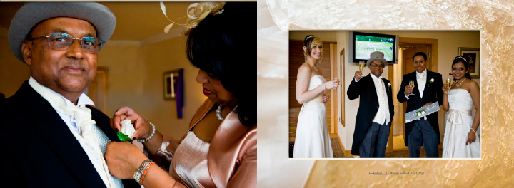 pages 8-9 of Graphistudio wedding storybook with bridal party ready to leave the hotel for the church ceremony