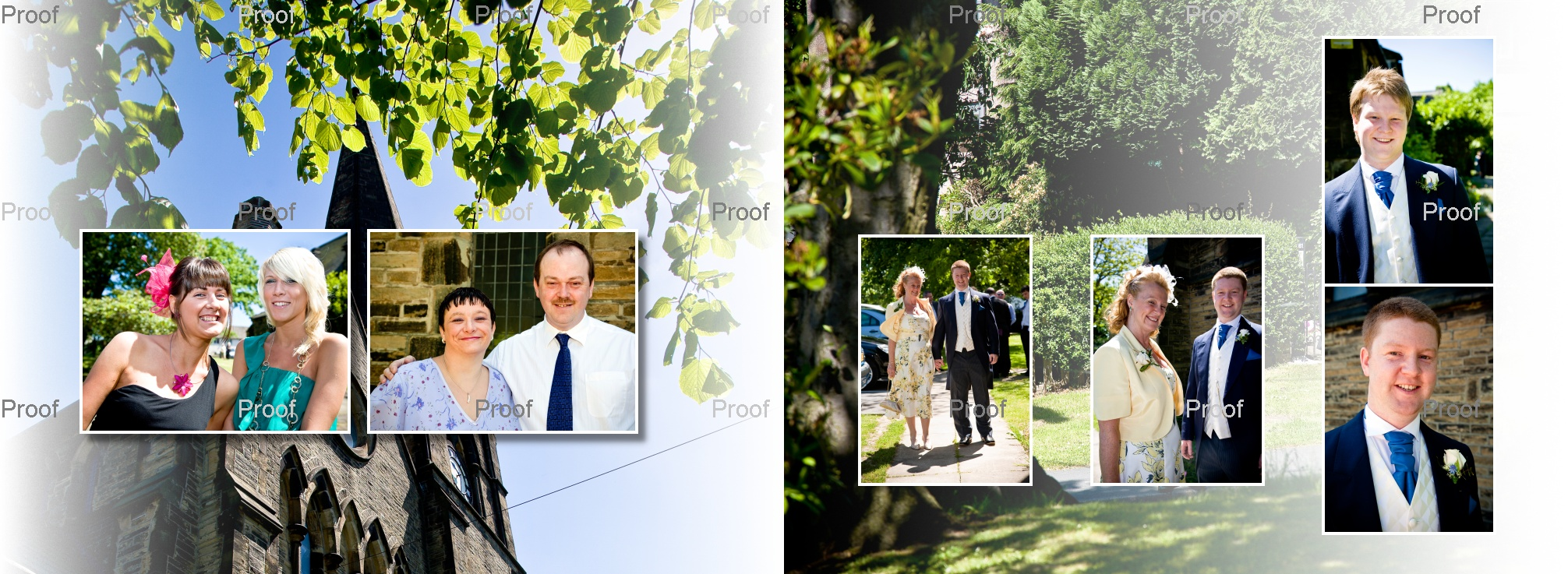 wedding guests & family arriving at St Marys Church in Wyke for Chris & Lydia's wedding storybook pages 8-9