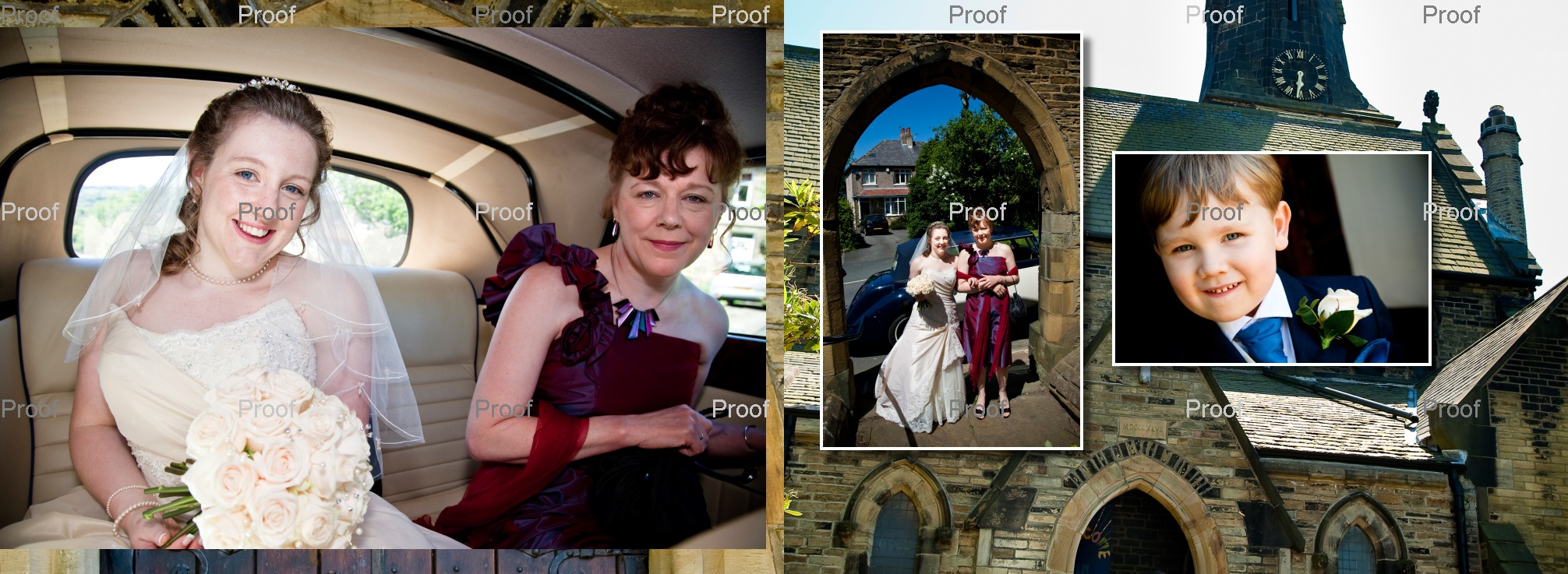 bride arriving at St Marys Church in Wyke in wedding car being given away by her Mum. pages 12-13