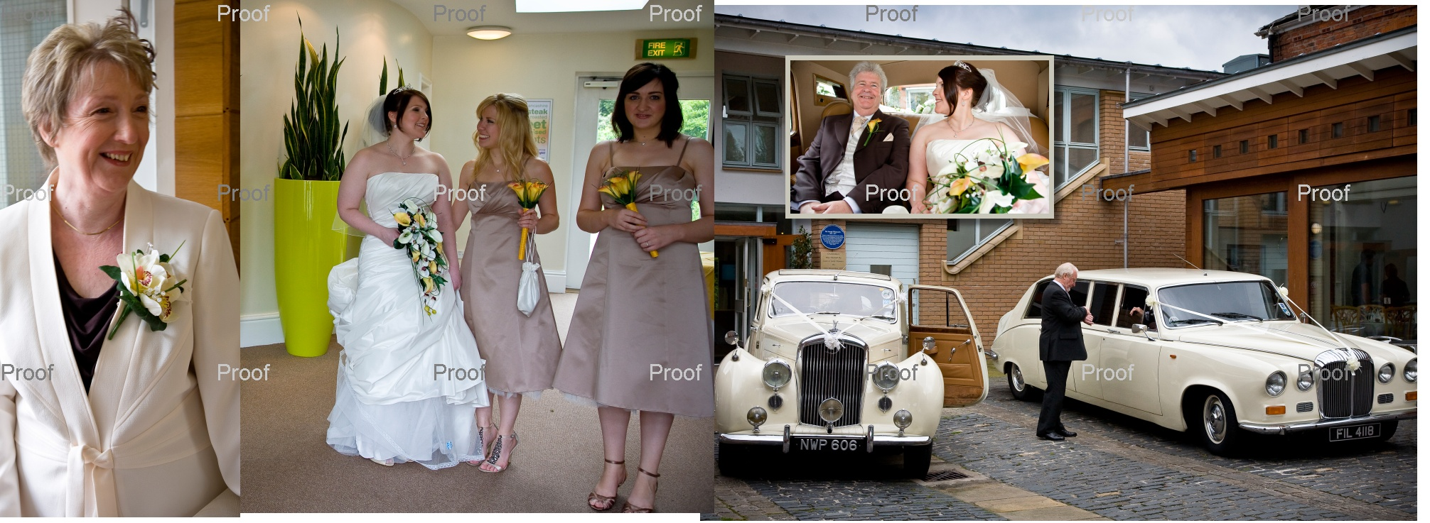 pages 14-15 of wedding storybook design with bride and bridesmaids as they set off in wedding cars