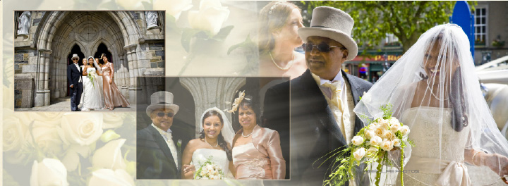 Graphistudio Italian wedding album storybook by Reel Life Photos pages 16-17 wedding party outside church