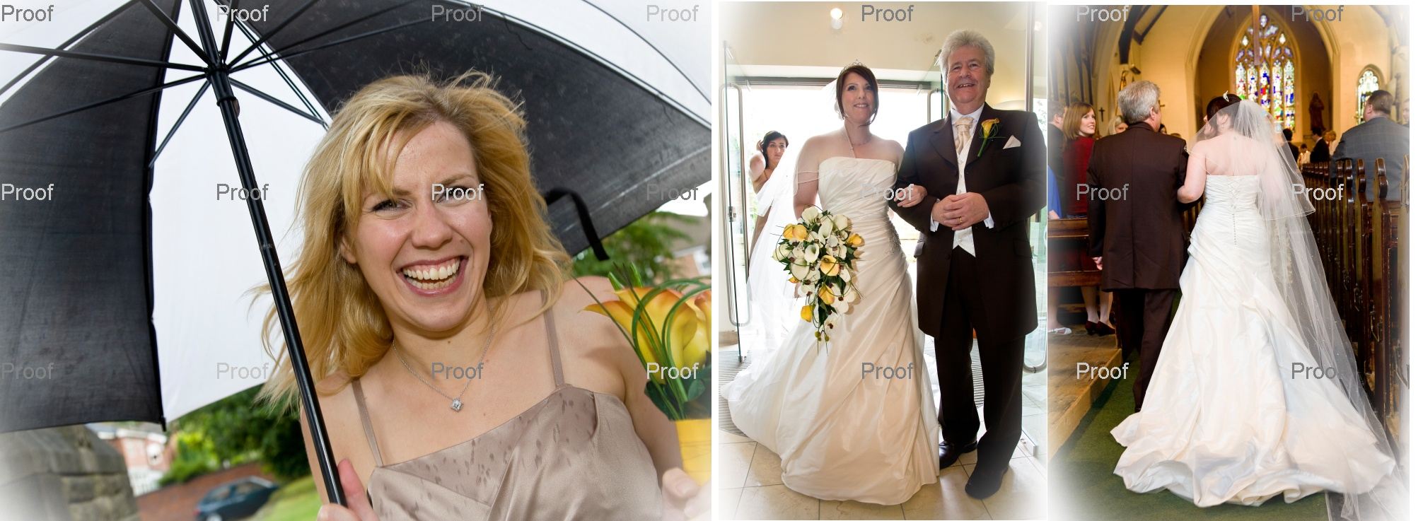 pages 16-17 of wedding storybook album with rainy day wedding pictures