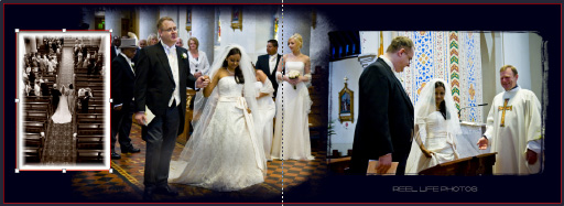 Graphistudio wedding book pages 18-19 bride walks down the aisle to start the marriage ceremony