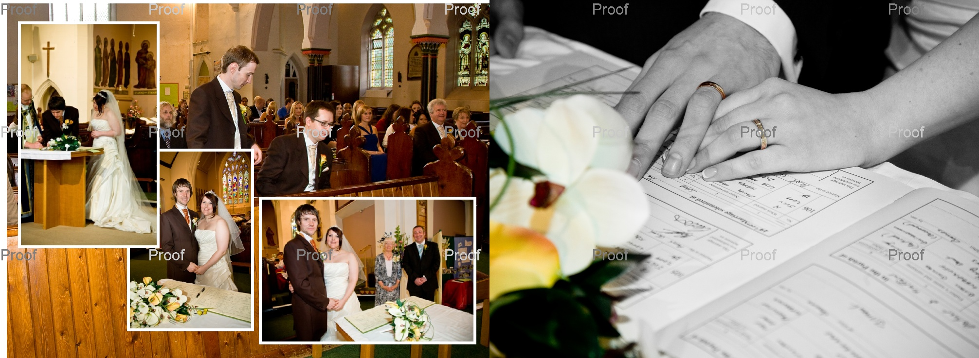 pages 18-19 of wedding storybook album design showing wedding ceremony at church in Manchester
