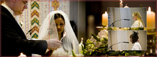 Graphistudio Italian wedding storybook album pages 20-21 the groom lights a candle in church with his bride