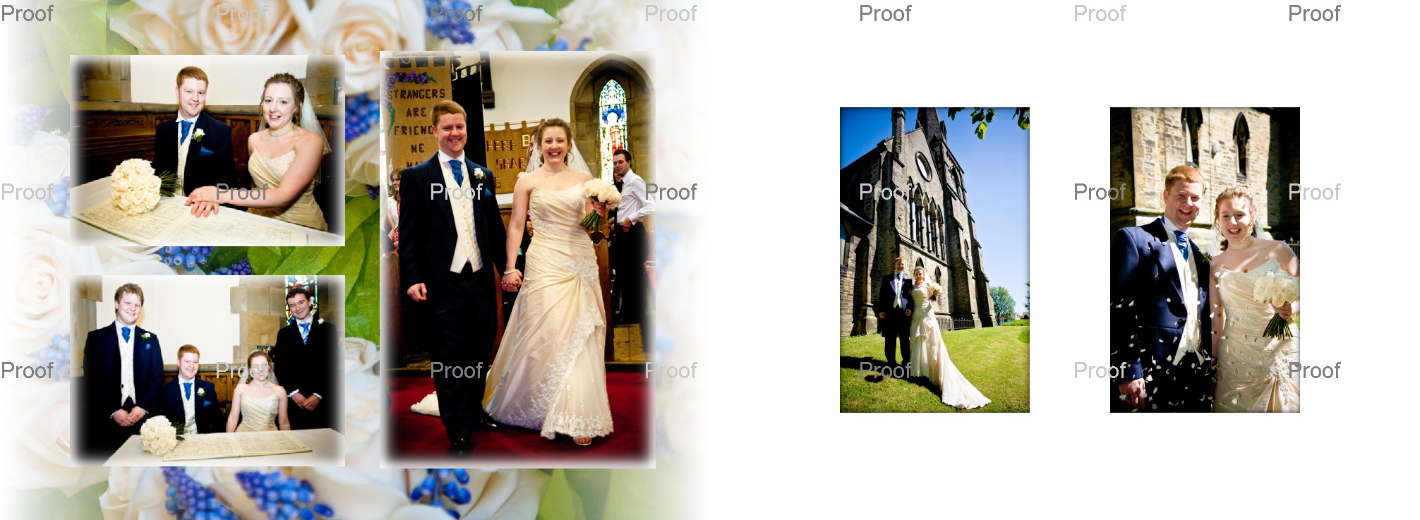 end of church wedding formalities. pages 20-21 reel Life Photos wedding storybook album