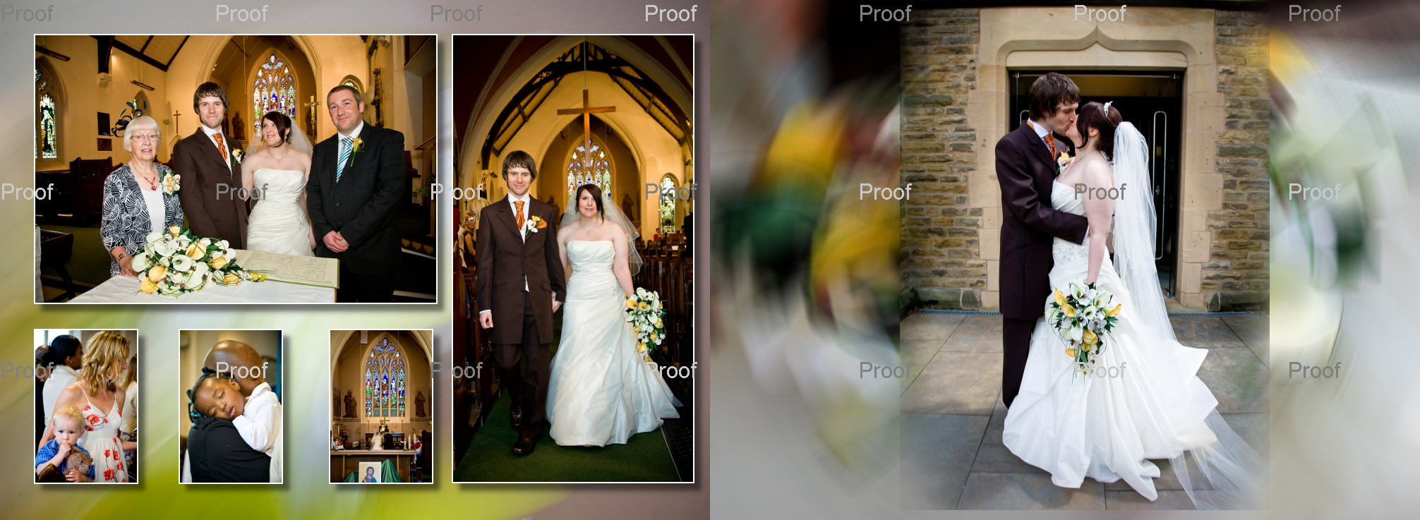 pages 20-21 of wedding storybook album with church wedding pictures