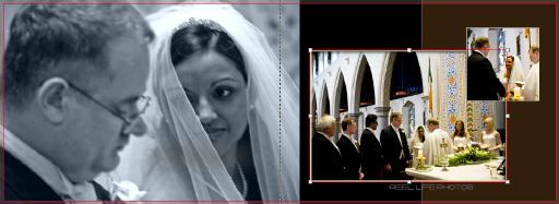 pictures of pages 22-23 of Graphistudio wedding book with bride looking romantically at her soon to be husband
