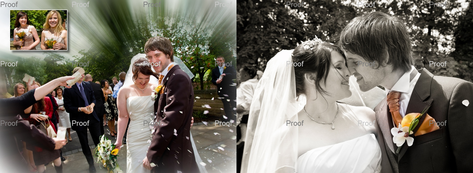 pages 22-23 of wedding storybook album, confetti pictures