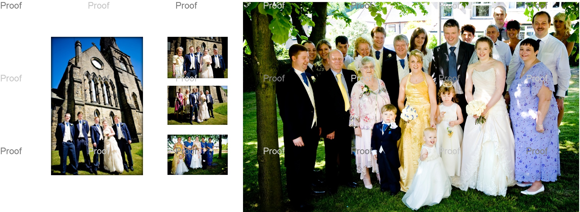 family wedding pictures outside St Marys Church in Wyke.  wedding storybook album pages 24-25