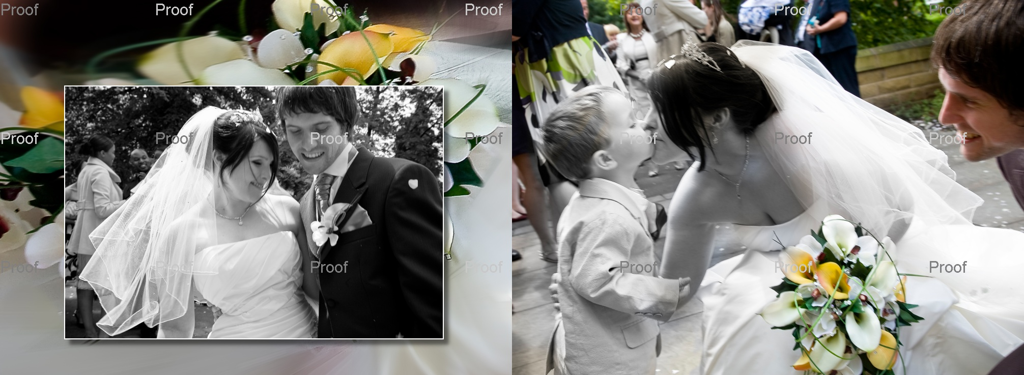 pages 24-25 of wedding storybook album with natural pictures of  bride and groom outside church after wedding
