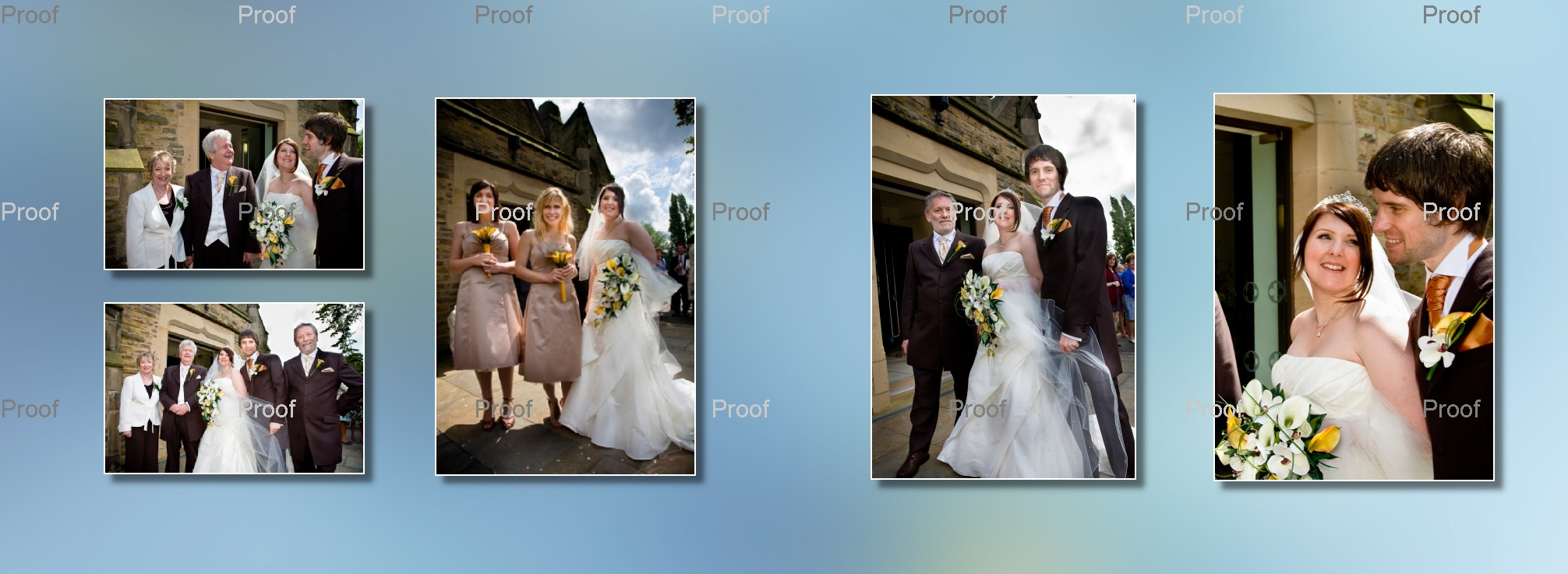 pages 26-27 of wedding storybook album with posed family wedding pictures outside church in Manchester