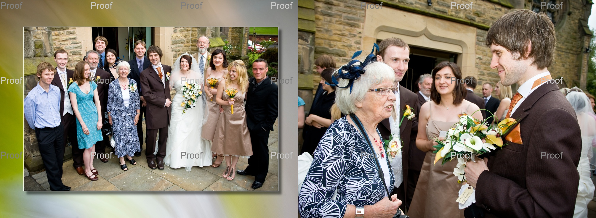 pages 28-29 of wedding storybook album with lovely family pictures after church ceremony