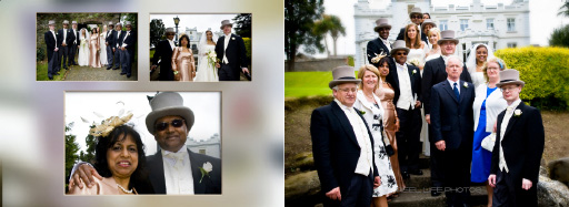 Graphistudio wedding album design by Reel Life Photos showing family wedding group photos