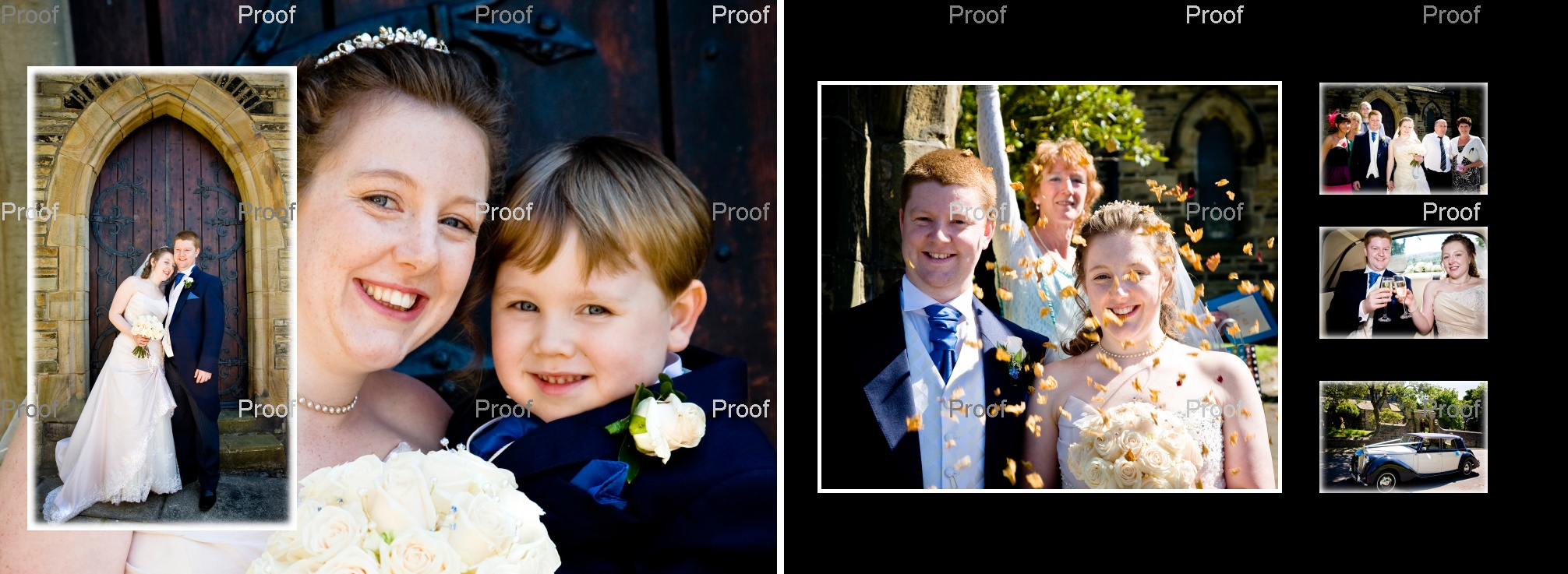 Pages 32-33 cute pageboy peeps round the picture with the bride, rose petal confetti & Champagne