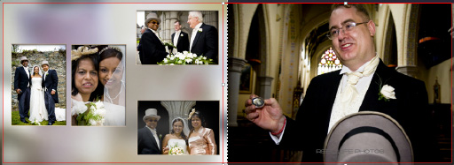 groom explains the story behind a specila present his wife just gave him - Graphistudio wedding book pages 34-35