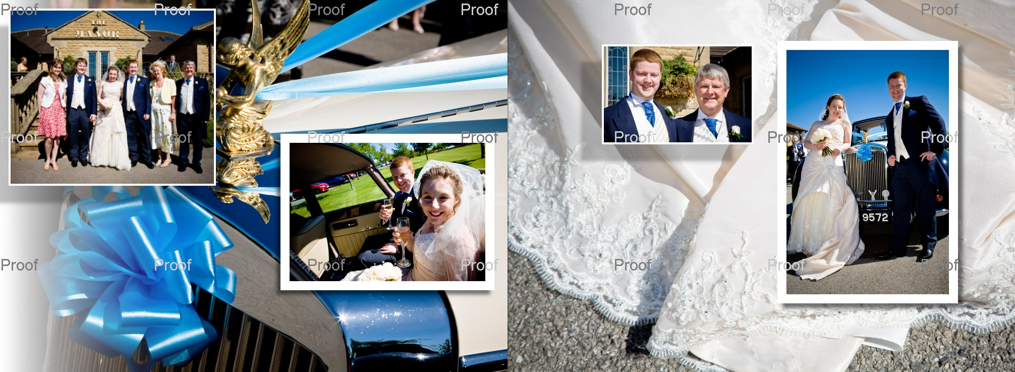 pages 34-35 wedding storybook - arrival at wedding reception venue in West Yorkshire - Drighlington Golf Club
