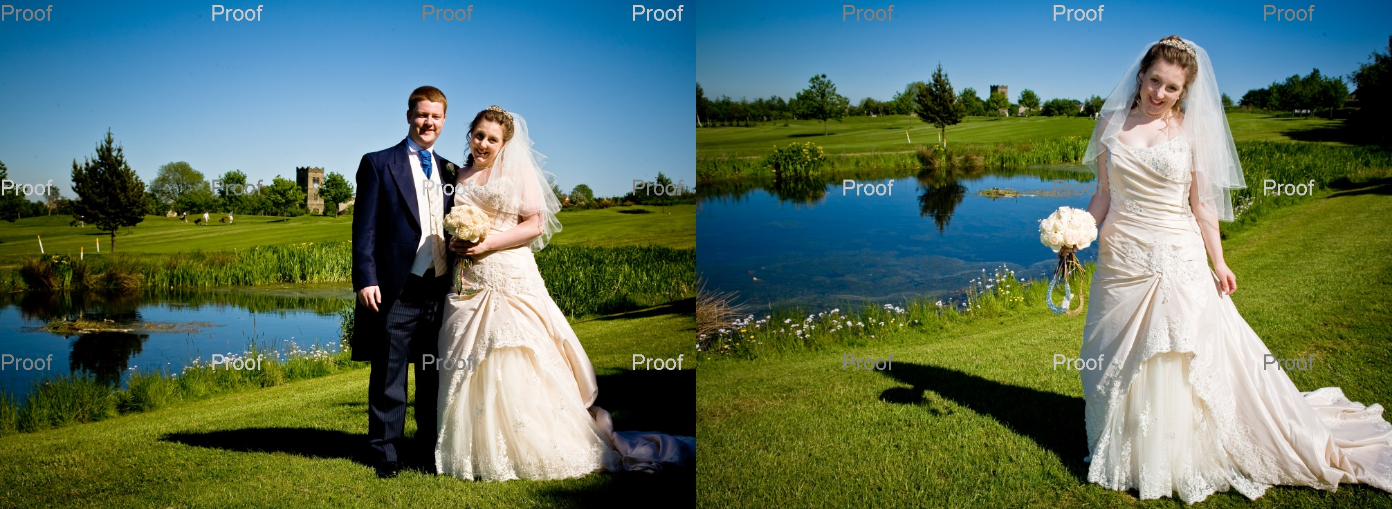 Bride and groom on the golf course - pages 36-37 wedding storybook album