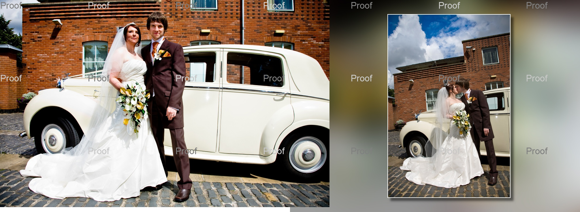 pages 36-37 of wedding storybook album design as bride and groom arrive at Chancellors Hotel & Conference Centre